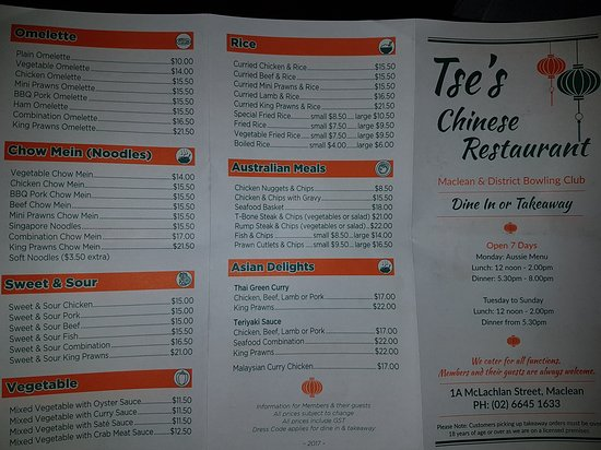 Tse's Restaurant - Pubs Perth